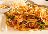 Thai style noodle with fresh shrimp , Pad thai , Thailand — Stock Photo