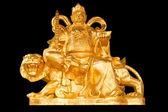 Ouro chinês prosperidade dinheiro Deus sente-se um tigre isolar no bl — Fotografia Stock