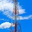 Telecommunication mast with microwave link and TV transmitter an — Stock Photo