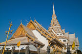 Native Thai style architecture, Wat Sothorn, Chachoengsao province, Thailand — Stock Photo