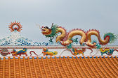 Dragon sculpture on roof of chinese shrine,East of Thailand — Stock Photo