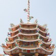 Part of beautyful Chinese shrine and the blue sky, Chonburi- Eas — Stock fotografie