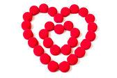 Dvojité červené srdce na bílém pozadí — Stock fotografie