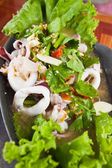Boiled squid with Lemon,Thai style seafood,spicy and sour — Stock Photo