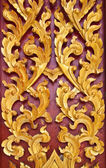 Golden Wood Carving,Traditional Thai Style in Thai Temple. — Stock Photo