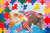 Elefante y el águila con abstracto pintura acrílica al agua en el — Foto de Stock