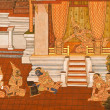 Masterpiece of traditional Thai style painting art on temple wal — Стоковая фотография