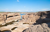 The Amazing of Rock,Natural of Rock Canyon in Khong River after — Stock Photo