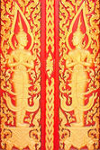 Golden Wood Carving Closeup,Traditional Thai Style in Thai Templ — Foto Stock