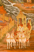 Masterpiece of traditional Thai style painting art on temple wal — Stock Photo
