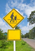 Traffic sign (School warning sign) and blue sky. — Stock Photo
