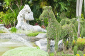 Dwarf into horse and stone as horse in the park — Photo
