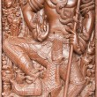 Native Thai-style wood carving door of church, North East Thaila — Stock Photo