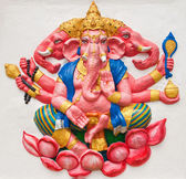 Indian or Hindu ganesha God Named Trimukha Ganapati at temple in — Stock Photo