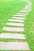 Stone walk way on green grass in the garden. — Stock Photo
