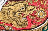 искусство китайский стиль живописи на стене в храме. — Стоковое фото