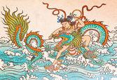 Kunst chinesische malerei an der wand in temple,thailand.genera — Stockfoto