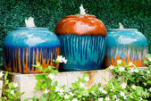 Colorful fountains jar — Stock Photo