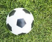 Yeşil çimenlerin üzerinde futbol topu — Stok fotoğraf