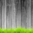 Black and white rough wood plank with green grass foreground — Stock Photo #45404053