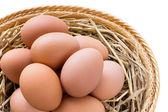 Huevos de gallina marrón en la cesta — Foto de Stock