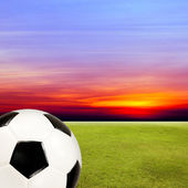 Soccer ball with green grass field against sunset sky — Stock fotografie