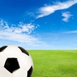 Soccer ball with green grass field against blue sky — Stock Photo #47466275