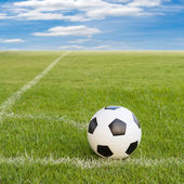 Soccer ball on soccer field against blue sky  — Foto de Stock