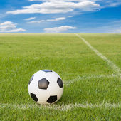 Soccer ball on soccer field against blue sky  — 图库照片