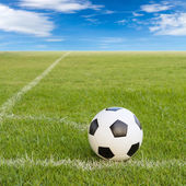 Soccer ball on soccer field against blue sky  — Stock fotografie