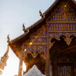 Stock Photo: Ancient buddhist temple in northern thailand with sun light
