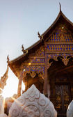 Ancient buddhist temple in northern thailand with sun light — Stock Photo