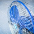 Turn off industrial fan on blue floor — Stock Photo