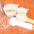 Step of bakery preparation with milk, butter, spoon, hand mixer — Stock Photo #31589975