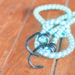 Stock Photo: Light blue elastic rope with metal hooks