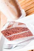 Hořký sladké jídlo studené kávy a čokoládový dort — Stock fotografie