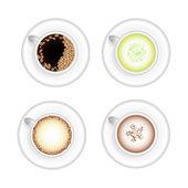 Set of hot drinks vector cups — Stock Vector
