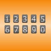 Digital flip numbers on orange background — Stock Vector