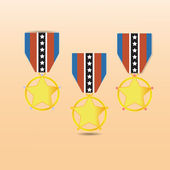 Star medal award with neck strap — Stock Vector