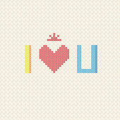 I love you on cross stitch style — Stock Vector