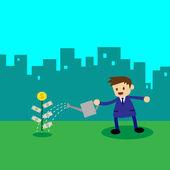 Businessman watering money plant — Stock Vector