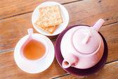 Juego de té caliente vista superior — Foto de Stock