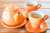 Ceramic cups of hot tea — Stock Photo