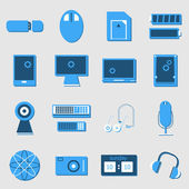 Electronic device color icons on light background — Stock Vector