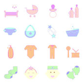 Baby pastel color icons set on white background — Stock Vector