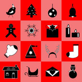Christmas black icons on red background — Stock Vector
