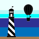 Create lighthouse and balloon scenery — Stock Vector