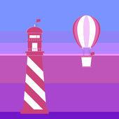 Romantik arka plan deniz feneri ve balon — Stok Vektör