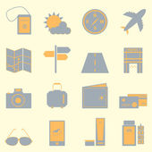 Travel color icons set on light background — Stock Vector