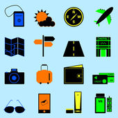 Travel colorful icons set on light blue background — Stock Vector